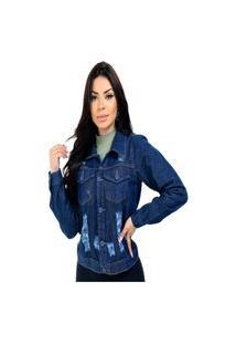 Jaqueta Jeans Azul Com Botão Forrado