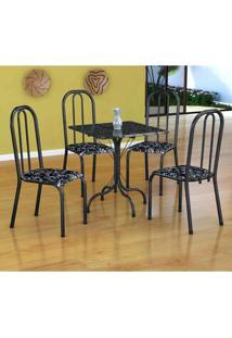 Conjunto De Mesa Malaga Com 4 Cadeiras Madri Preto Prata E Preto Floral