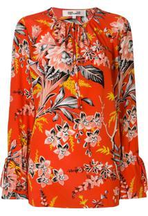 Dvf Diane Von Furstenberg Blusa De Seda Floral - Vermelho