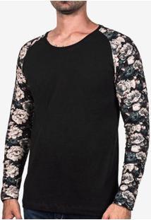 Camiseta Manga Floral Petróleo 102759
