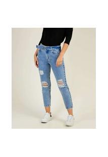 Calça Mom Jeans Destroyed Feminina Cinto Marisa