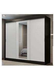 Guarda-Roupa Casal Madesa Kansas 3 Portas De Correr Com Espelho 3 Gavetas Preto/Branco Cor:Preto/Branco