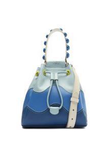 Bolsa Bucket Azul Couro Média Grazi Pinto   Arezzo