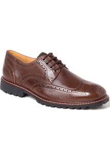 Sapato Social Derby Sandro Moscoloni New Brett Wingtip Marrom Escuro