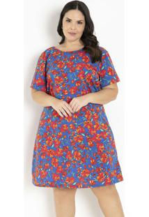 Vestido Floral Azul Com Transpasse Plus Size