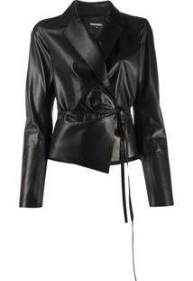 Dsquared2 Tie-Waist Leather Jacket - Preto
