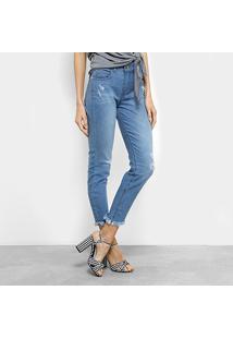 Calça Jeans Skinny Colcci Cory Estonada Puídos Barra Desfiada Cintura Média Feminina - Feminino-Azul Claro