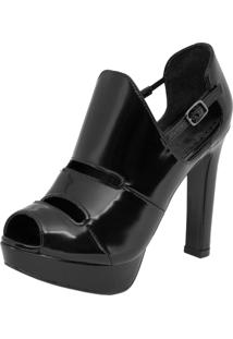 Open Boot My Shoes Salto Alto Grosso Preta