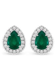 Brinco Ouro Branco Diamantes E Esmeralda
