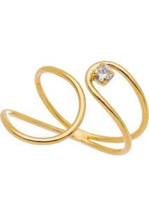 Anel Folheado A Ouro- Dourado- Regulável- Carolicarolina Alcaide