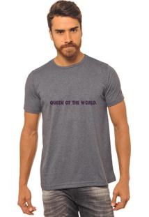 Camiseta Masculina Joss Estampada Queen Of The World Roxo Chumbo