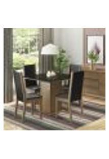 Conjunto Sala De Jantar Madesa Moscou Plus Mesa Tampo De Vidro Com 4 Cadeiras - Rustic/Preto