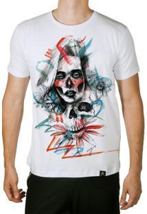 Camiseta Artseries Longline Caveira Mexicana Com Rosto De Mulher Colorida