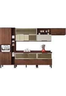 Cozinha Modulada 8 Peças Viv Concept C06-B Nogueira/Off White - Kit´S