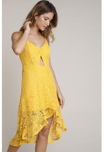 Vestido Feminino Em Renda Midi Mullet Com Babado Alças Finas Amarelo