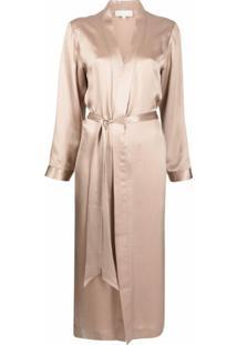 Michelle Mason Robe De Seda Com Fenda Lateral - Marrom