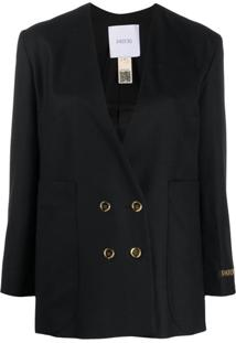 Patou No Collar Double Breasted Jacket - Preto