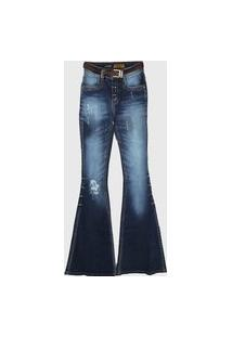 Calça Jeans Lança Perfume Flare Atena Com Cinto Azul