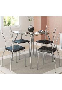 Mesa 1502 Vidro Incolor Cromada Com 4 Cadeiras 1700 Fantasia Preto Carraro