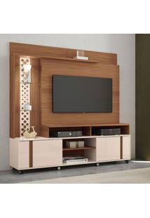 Estante Para Home Theater E Tv Até 55 Polegadas Vitral Marrom Nature E Off White
