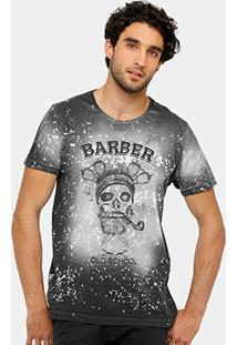 Camiseta Local Tinturada Barber Skull Masculina - Masculino