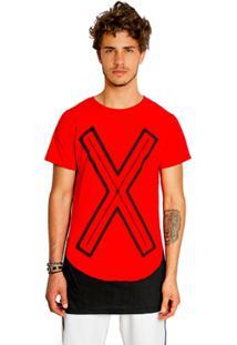 T-Shirt Wosmock Rickon Alongada - Feminino-Vermelho