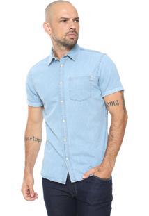 Camisa Jeans Jack & Jones Reta Pespontos Azul