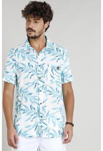 Camisa Masculina Com Linho Estampada Tropical Manga Curta Off White