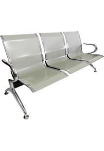 Cadeira Longarina Aeroporto Cromada 3 Lugares