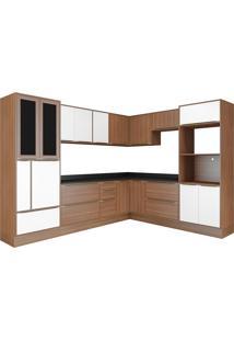 Cozinha 14 Módulos 19 Portas 5 Gavetas Nogueira E Branco Multimóveis