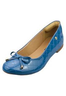 Sapatilha Love Shoes Bico Redondo Conforto Matelasse Verniz Laçinho Azul