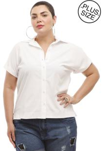 Camisa Melinde Plus Size Branca Ilhós Nas Costas