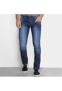 Calça Jeans Slim Zamany Com Elastano Lavagem Média Masculina - Masculino