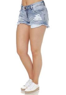 Short Jeans Naraka Feminino - Feminino-Azul