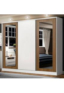 Guarda-Roupa Casal Madesa Eros 3 Portas De Correr Com Espelhos - Branco/Rustic/Branco Branco