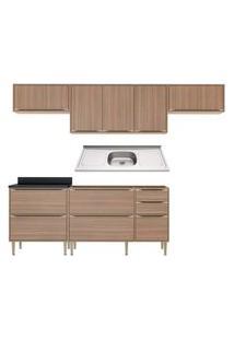 Cozinha Compacta Com Pia Inox 6 Peças Calábria Multimóveis Mp3230 Madeirado