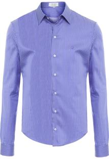 Camisa Masculina - Azul E Branco