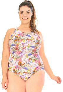 Maiô Com Bojo Plus Size Acqua Rosa New Print