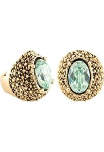 Anel Armazém Rr Bijoux Ouro Velho Pedra Verde Claro