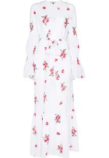 Masterpeace Vestido Envelope Longo De Algodão Com Estampa Floral - Branco