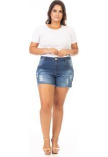 Shorts Jeans Com Lycra E Puídos Plus Size Confidencial Extra Feminino - Feminino-Azul