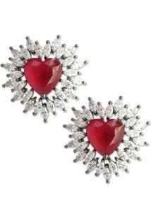 Brinco Coração Médio Cravejado Com Zircônias - Feminino-Vermelho Escuro
