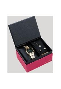 Kit De Relógio Digital Lince Feminino + Brinco + Colar - Sdph040L Bpkx Dourado