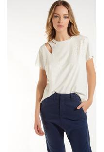 Camiseta Rosa Chá Jasmin Iii Malha Branco Feminina (Branco, P)