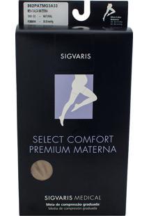 Meia Calça Materna Sigvaris Select Comfort Premium 20-30 Mmhg Ponteira Aberta G (Tamanho Grande) Longo (G3), Cor Bege