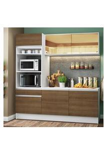 Cozinha Compacta Madesa Diamante Com Armário, Balcáo E Tampo Marrom