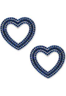 Brinco Coração Cravejado Com Zircônias - Feminino-Marinho