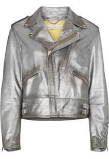 Golden Goose Deluxe Brand Jaqueta De Couro 'Chiodo' - Metálico