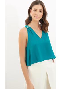 Regata Le Lis Blanc Esmeralda Seda Verde Feminina (Esmeralda, 34)