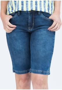 Bermuda Pau A Pique Feminina - Feminino-Jeans